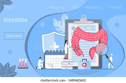Intestine doctors examine, treat dysbiosis. Tiny therapist looks through a magnifying glass at harmful bacteria. Health care concept in flat style for landing page, website, app, banner.