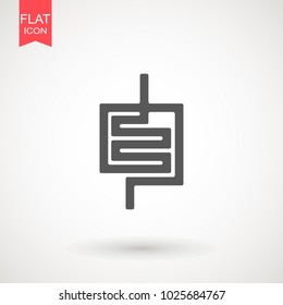 Intestines flat icon. Single high quality symbol of human body for web design or mobile app. Signs of Intestines for design logo, visit card, etc. Pictogram of Intestines