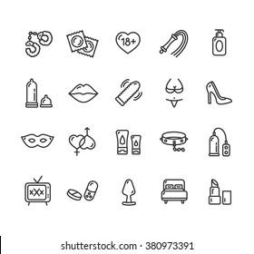 Intim or Sex Shop Outline Icon Set. Vector illustration