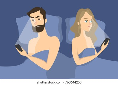 Intimate problem illustration. Angry couple lying in bed using smartphone.