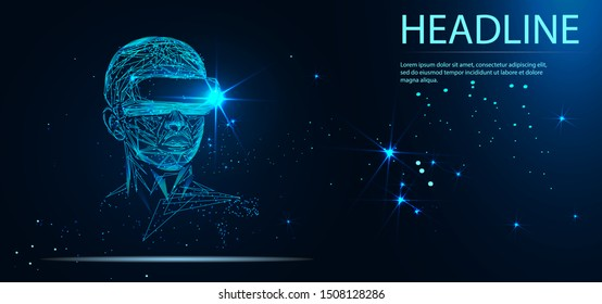Into virtual reality world. Man wearing goggle headset. Vector illustration. Headline
