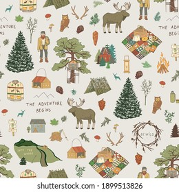 Into the woods nature forest adventure, hike, village life objects seamless vector pattern
