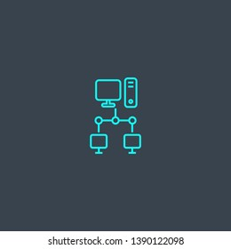 intranet concept blue line icon. Simple thin element on dark background. intranet concept outline symbol design. Can be used for web and mobile UI/UX