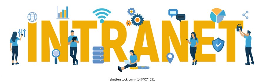 INTRANET. Global Network Connection Technology. Intranet Business Corporate communication document management system dms. Business team. Vector illustration with characters and icons.