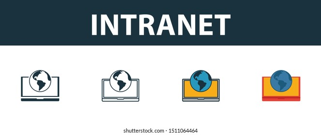 Intranet icon set. Four elements in diferent styles from icons collection. Creative intranet icons filled, outline, colored and flat symbols.
