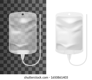Intravenous iv therapy bag 3d mockups. Vector infusion drip with empty clear container realistic template for medical fluid injection, blood transfusion and chemotherapy treatment packaging design