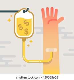 Intravenous therapy by drip money. Quantitative Easing or QE concept vector illustration.