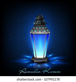 Intricate Arabic lamp with lights on creative blue background. EPS 10.