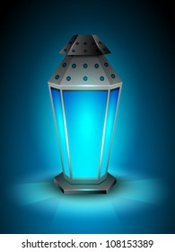 Intricate Arabic lamp with lights on shiny blue background. EPS 10.