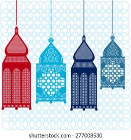 Intricate Arabic lanterns - vector illustration