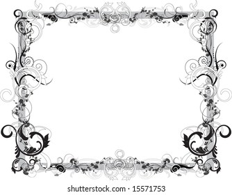 Intricate black and white flowery vector frame