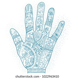 Intricate doodle drawings of the life story of  traveler in the palm of your hand. Palmistry monochrome tattoo.