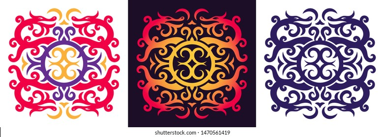 Intricate dragon pattern. Viking or Celtic ornament with four curved dragons. Vector illustration.