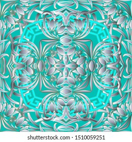 Intricate floral greek vector seamless pattern. Abstract ornamental geometric background. Ethnic tribal style repeat light backdrop. Surface flowers, frames, lines, shapes. Greek key meanders ornament
