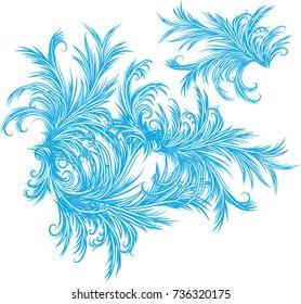 Intricate frost work - frosty window pattern background.