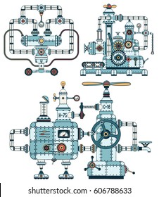 Intricate metal machines with pipes, mechanisms, technical elements in steampunk style. Details are grouped separately, so that the structures can be disassembled and assembled differently.