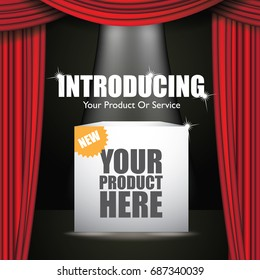 Introducing flyer, marketing or banner background template with dramatic red curtains. To announce a new product, service or business. EPS 10 vector.