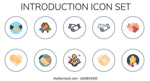 introduction icon set. 10 flat introduction icons.  Collection Of - handshake