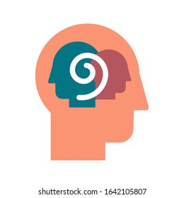 Introspection and self-observation color flat vector icon. Dissociative identity disorder pictogram