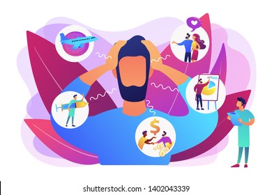 Introversion, agoraphobia, public spaces phobia. Mental illness, stress. Social anxiety disorder, anxiety screening test, anxiety attack concept. Bright vibrant violet vector isolated illustration