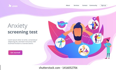 Introversion, agoraphobia, public spaces phobia. Mental illness, stress. Social anxiety disorder, anxiety screening test, anxiety attack concept. Website homepage landing web page template.