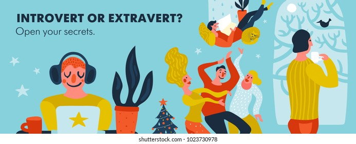 Introvert or extravert header on blue background with persons of various tempers hand drawn vector illustration