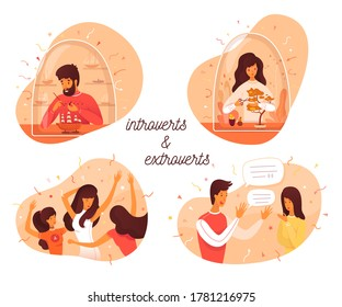 Introvert and extrovert individuality. Introversion man makes ship model, woman takes care of bonsai plants. Extroversion guy talking with people, girl dancing in party club. Vector illustration