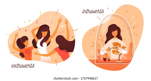 Introvert and extrovert individuality. Introversion woman cares bonsai plant, enjoys loneliness hobbies. Extroversion girl dancing at party club, entertainment with people. Vector illustration
