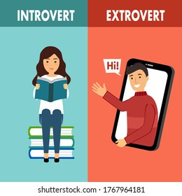 Introvert and extrovert personality character concept vector illustration. Introvert woman enjoy reading book alone. Extrovert man is talkative and enjoy meeting new people.