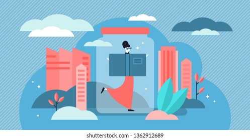 Introvert vector illustration. Flat tiny personality types persons concept. Shy and protective behavior with invisible shield. Abstract symbolic emotional mindset state to be alone and cover protected