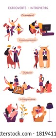 Introvert versus extrovert, behavioral comparison of psychological types. Partying and talkative extroverted personages and calm, quiet introverted characters in communication vector in flat style