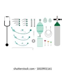 Intubation procedure equipment set on white background. Intubation set preparations.