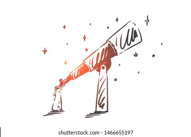 Intuition, leadership, success concept sketch. Arab in niqab standing and looking at sky through telescope. Hand drawn isolated vector illustration