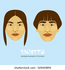 Inuit - the indigenous people of Canada. Man and woman. Vector illustration.