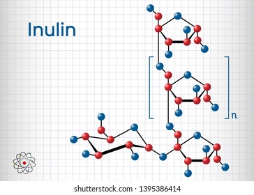 Inulin molecule. Sheet of paper in a cage. Structural chemical formula and molecule model. Vector illustration