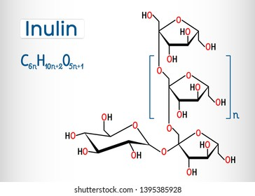 Inulin molecule. Structural chemical formula and molecule model. Vector illustration