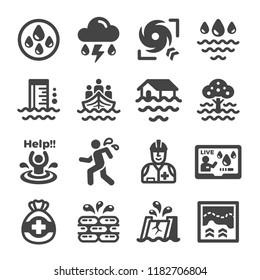 inundation,flood icon set