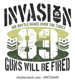 INVASION - Vector Graphics and typography t-shirt design for apparel. War Varsity.