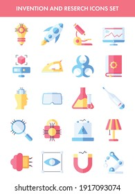 Invention And Research Icons Set In Flat Style.