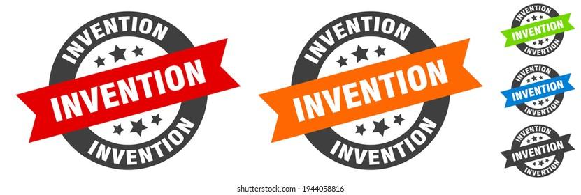 invention stamp. invention round ribbon sticker. label