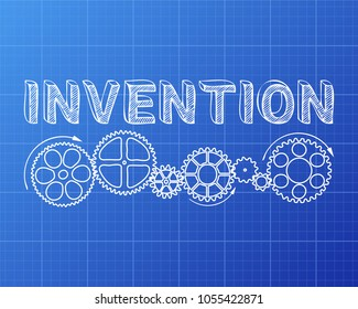 Invention of wheel images stock photos vectors shutterstock invention text with gear wheels hand drawn on blueprint background malvernweather Gallery