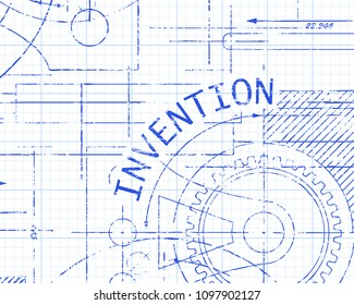 Invention text with gear wheels hand drawn on graph paper technical drawing background