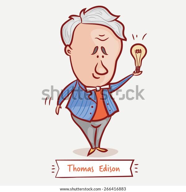 Vector de stock (libre de regalías) sobre El inventor Thomas Edison con  una266416883