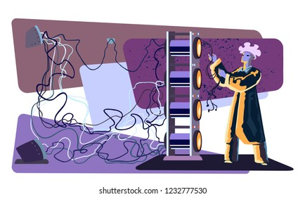 Inventor at work in laboratory with science equipment, cables, and wires. Scientist conducting complicated research. Hand drawn vector illustration.