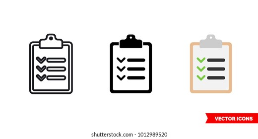 Inventory checklist clipboard icon of 3 types: color, black and white, outline. Isolated vector sign symbol.
