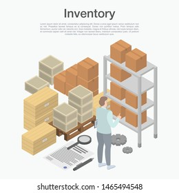 Inventory concept background. Isometric illustration of inventory vector concept background for web design