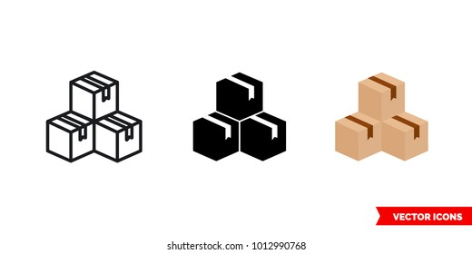 Inventory icon of 3 types: color, black and white, outline. Isolated vector sign symbol.