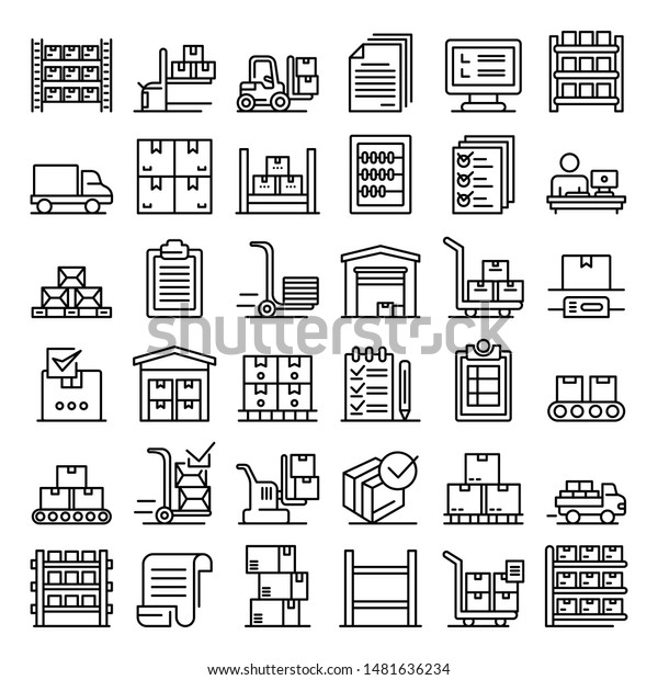 Inventory icons set. Outline set of inventory vector icons for web design isolated on white background