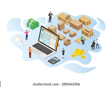inventory or logistics optimization concept with modern isometric or 3d style