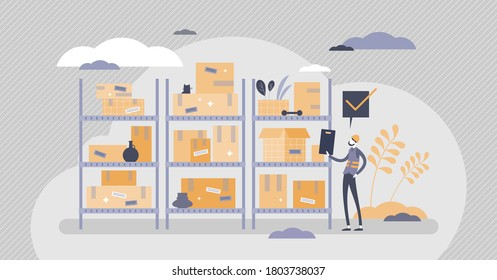 Inventory management with goods demand and stock supply planning tiny persons concept. Distribution and shipping production resources from storage and warehouse to retail store vector illustration.